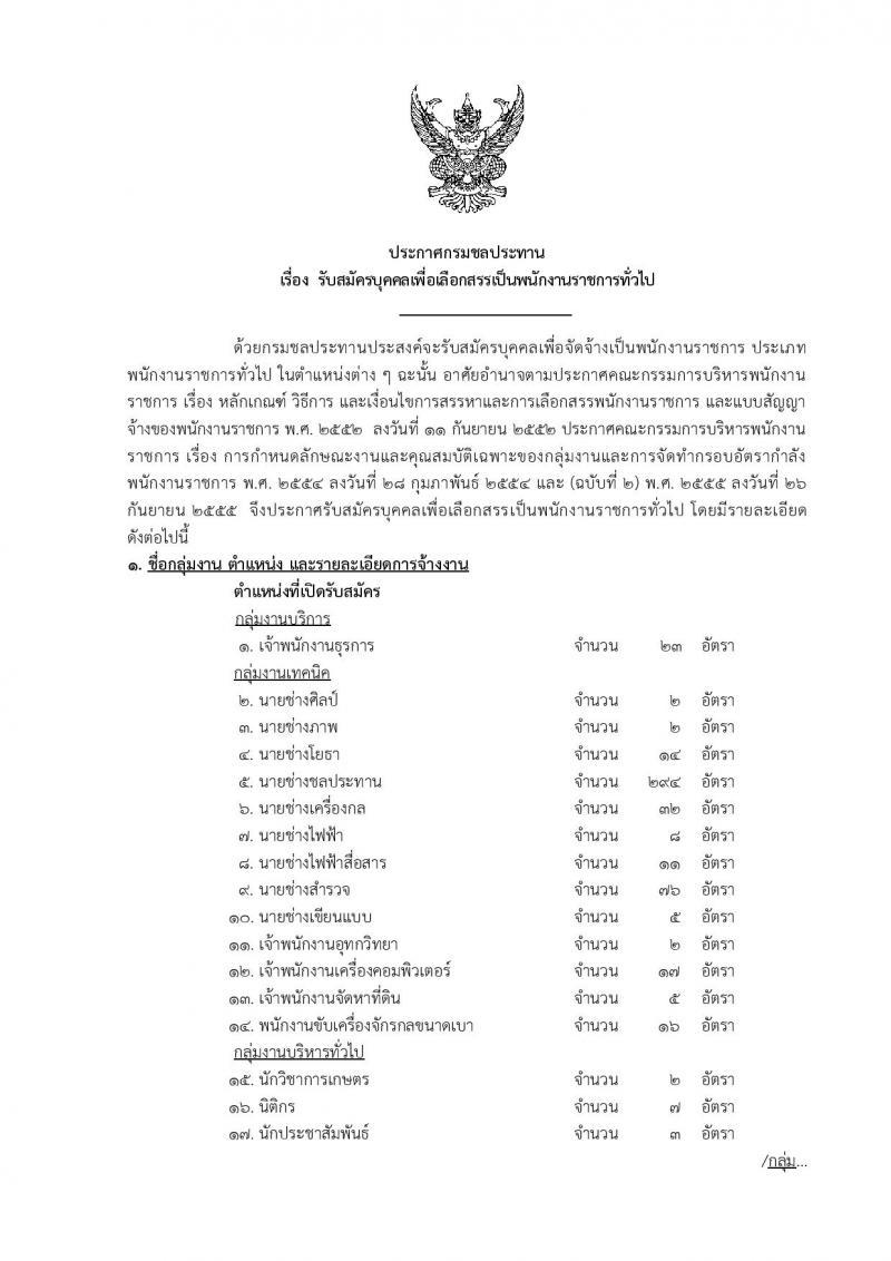 โอกาสดีมาแล้ว…กรมชลประทาน ประกาศรับสมัครบุคคลเพื่อเลือกสรรเป็นพนักงานราชการทั่วไป จำนวน 20 ตำแหน่ง 574 อัตรา รับสมัครสอบทางอินเทอร์เน็ต (วุฒิ ปวช. ปวส. ป.ตรี) ตั้งแต่วันที่ 3-10 ต.ค. 2559