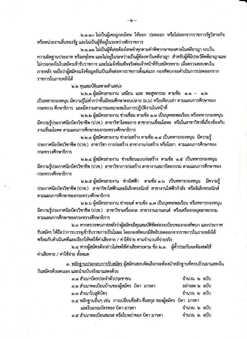 กรมการทหารช่าง กองทัพบก ประกาศรับสมัครทหารกองหนุนและบุคคลพลเรือนายเข้ารับราชการ (โควตาประจำปี) จำนวน 13 อัตรา (วุฒิ ปวช) รับสมัครสอบตั้งแต่วันที่ 15-23 ก.พ. 2560
