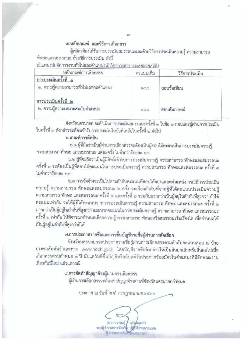 สาธารณสุขจังหวัดนครนายก ประกาศรับสมัครบุคคลเพื่อเลือกสรรเป็นพนักงานราชการทั่วไป จำนวน 2 ตำแหน่ง 2 อัตรา (วุฒิ ป.ตรี) รับสมัครสอบตั้งแต่วันที่ 8-15 ส.ค. 2560