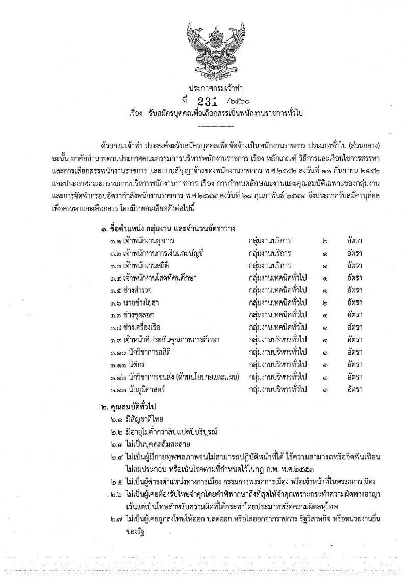 ดีด่วนๆ กรมเจ้าท่า ประกาศรับสมัครบุคคลเพื่อเลือกสรรเป็นพนักงานราชการทั่วไป จำนวน 13 ตำแหน่ง 15 อัตรา (วุฒิ ปวส. ป.ตรี) รับสมัครสอบทางอินเทอร์เน็ต ตั้งแต่วันที่ 26 ธ.ค. 2560 – 5 ม.ค. 2561