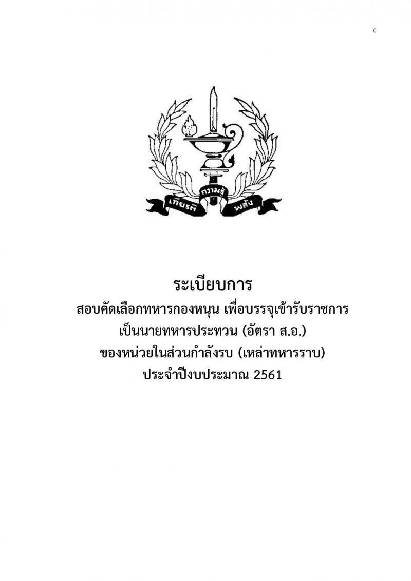 ศูนย์การทหารราบ ประกาศรับสมัครสอบคัดเลือกและบรรจุเข้ารับราชการเป็นนายทหารประทวน (อัตรา สิบเอก) จำนวน 300 นาย (วุฒิ ป.ปลาย หรือเทียบเท่า) รับสมัครสอบตั้งแต่วันที่ 22-26 ม.ค. 2560