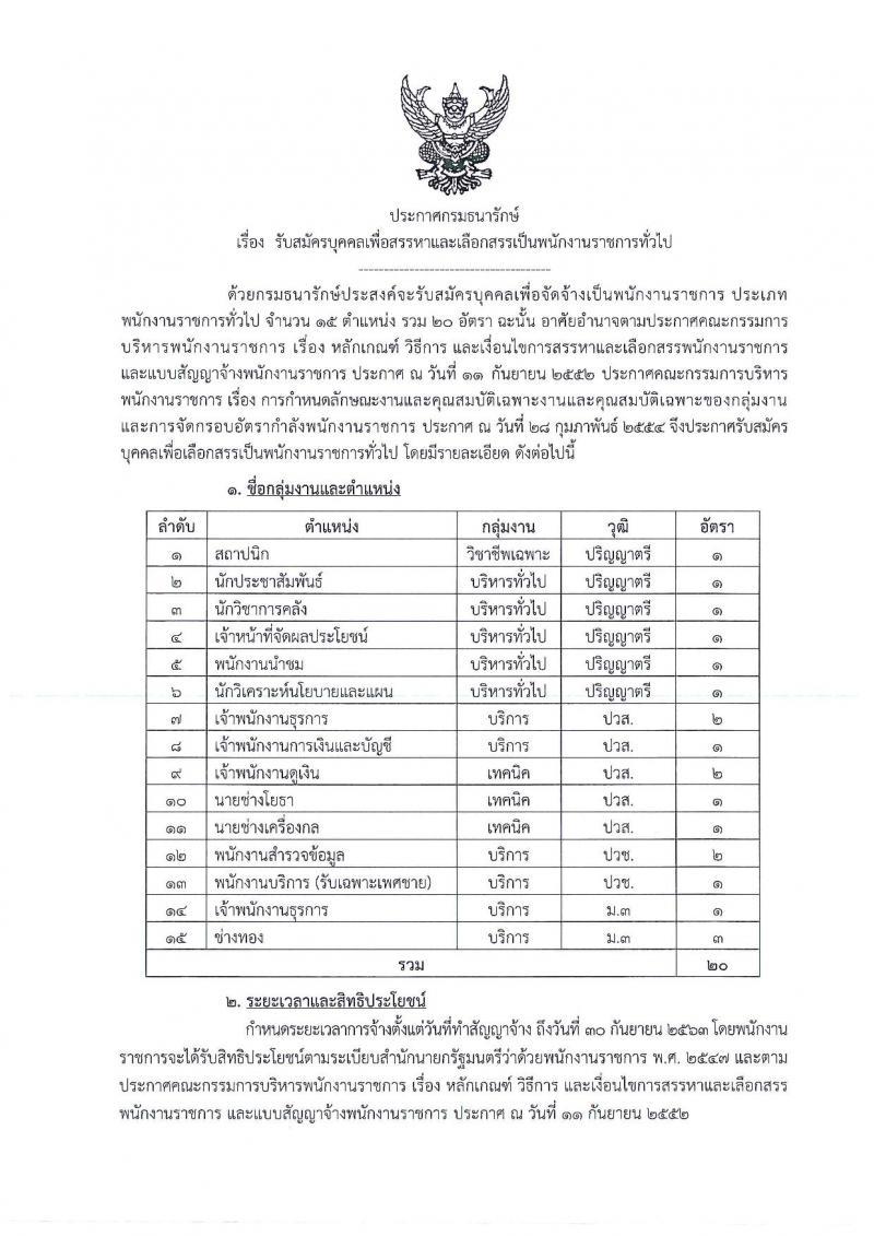กรมธนารักษ์ ประกาศรับสมัครบุคคลเพื่อบุคคลเพื่อสรรหาและเลือกสรรเป็นพนักงานราชการทั่วไป จำนวน 15 ตำแหน่ง 20 อัตรา (วุฒิ ม.ต้น ปวช. ป.ตรี) รับสมัครสอบตั้งแต่วันที่ 26 ก.พ. – 12 มี.ค. 2561