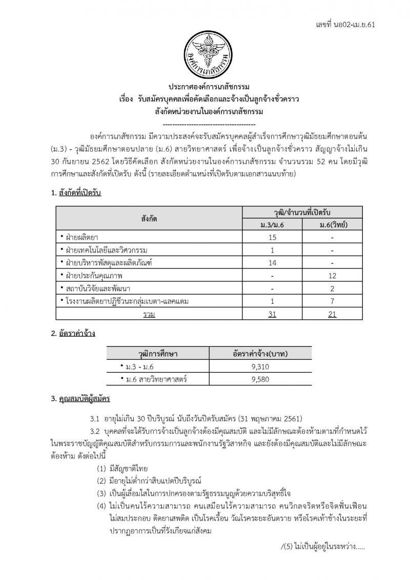 องค์การเภสัชกรรม ประกาศรับสมัครบุคคลเพื่อเลือกและจ้างเป็นลูกจ้างชั่วคราว จำนวน 52 อัตรา (วุฒิ ม.ต้น ม.ปลาย) รังสมัครสอบตั้งแต่วันที่ 2-31 พ.ค. 2561