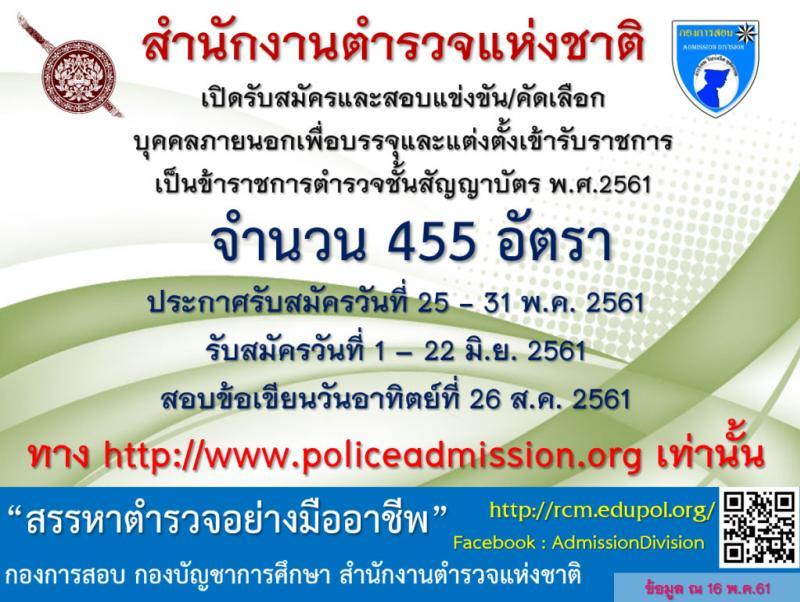 สำนักงานตำรวจแห่งชาติ ประกาศรับสมัครสอบแข่งขันบุคคลภายนอกเพื่อบรรจุและแต่งตั้งบุคคลเข้ารับราชการเป็นตำรวจชั้นสัญญาบัตร (ชายหญิง) จำนวน 455 อัตรา (วุฒิ ป.ตรี) รับสมัครสอบทางอินเทอร์เน็ต ตั้งแต่วันที่ 1-22 มิ.ย. 2561