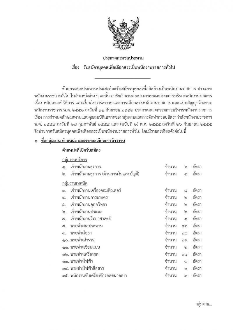 กรมชลประทาน รับสมัครบุคคลเพื่อเลือกสรรเป็นพนักงานราชการทั่วไป จำนวน 17 ตำแหน่ง 227 อัตรา (วุฒิ ปวช. ปวส. ป.ตรี) รับสมัครทางอินเทอร์เน็ต ตั้งแต่วันที่ 26 ต.ค. – 8 พ.ย. 2561