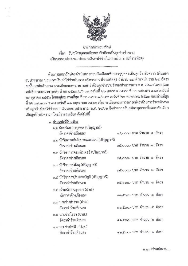 กรมธนารักษ์ รับสมัครบุคคลเพื่อสอบคัดเลือกเป็นลูกจ้างชั่วคราว จำนวน 14 ตำแหน่ง 25 อัตรา (วุฒิ ป.6 ม.ต้น ม.ปลาย ปวช. ปวส. ป.ตรี) รับสมัครสอบตั้งแต่วันที่ 1-21 พ.ย. 2561