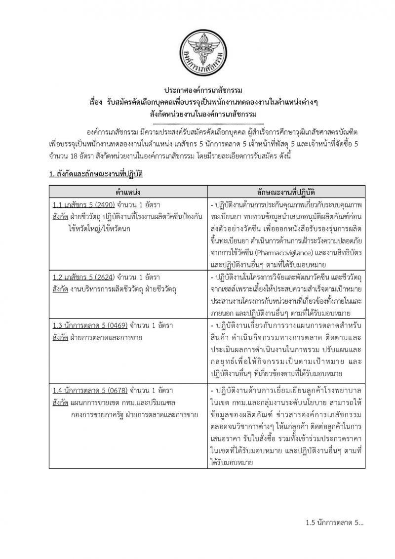 องค์การเภสัชกรรม รับสมัครคัดเลือกบุคคลเพื่อบรรจุเป็นพนักงานทดลองงาน จำนวน 4 ตำแหน่ง 18 อัตรา (วุฒิ ป.ตรี) รับสมัครสอบตั้งแต่วันที่ 17 ธ.ค.61 – 16 ม.ค.62