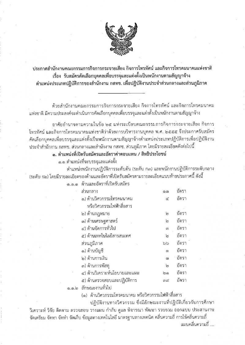 สำนักงานคณะกรรมการกิจการกระจายเสียง กิจการโทรทัศน์ และกิจการโทรคมนาคมแห่งชาติ รับสมัครคัดเลือกบุคคลเพื่อเลือกสรรเป็นพนักงานตามสัญญาจ้าง จำนวน 10 ตำแหน่ง 79 อัตรา (วุฒิ ไม่ต่ำกว่า ป.ตรี) รับสมัครตั้งแต่วันที่ 21 ม.ค. – 15 มี.ค. 2562