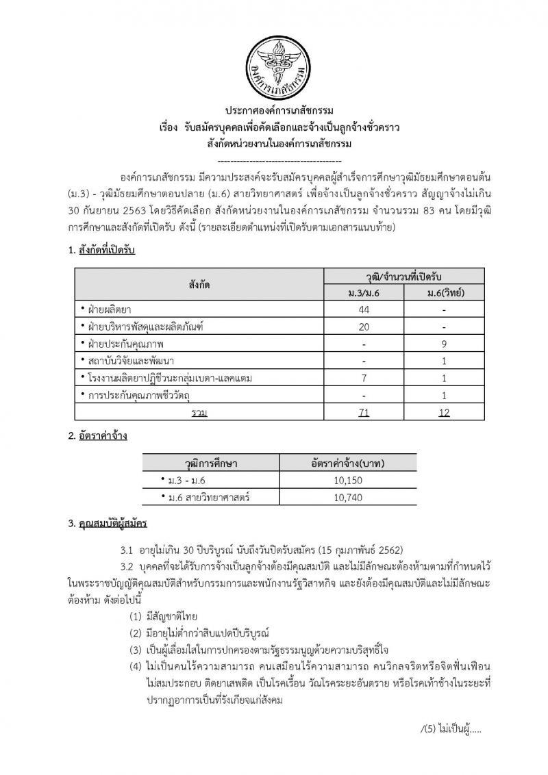 องค์การเภสัชกรรม รับสมัครบุคคลเพื่อคัดเลือกและจ้างเป็นลูกจ้างชั่วคราว จำนวน 6 ตำแหน่ง 83 อัตรา (วุฒิ ม.ต้น ม.ปลาย) รับสมัครตั้งแต่วันที่ 1-15 ก.พ. 2562