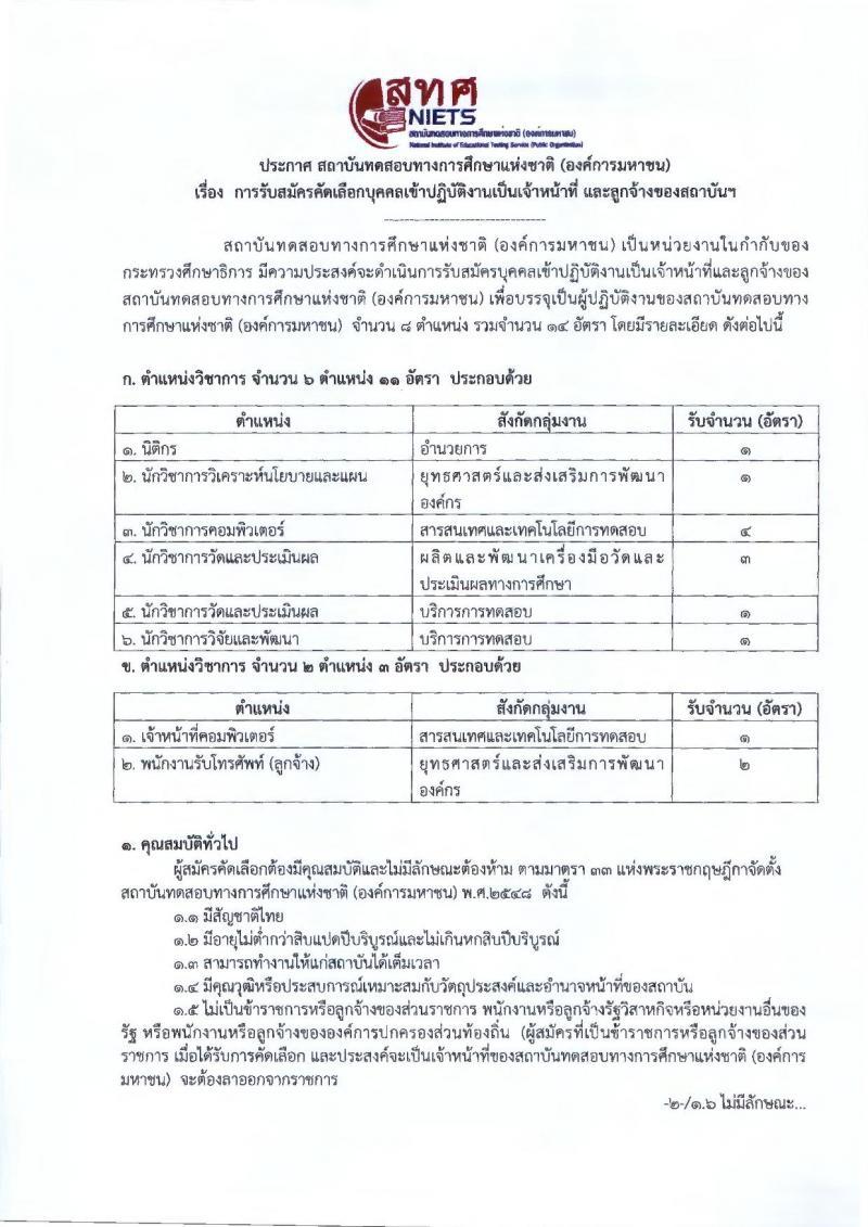 สถาบันทดสอบทางการศึกษาแห่งชาติ (องค์การมหาชน) รับสมัครบุคคลเข้าปฏิบัติงานเป็นเจ้าหน้าที่ และลูกจ้างของสถาบันฯ จำนวน 6 ตำแหน่ง 11 อัตรา (วุฒิ ปวช. ปวส. ป.ตรี ป.โท) รับสมัครตั้งแต่บัดนี้ ถึง 25 มี.ค. 2562
