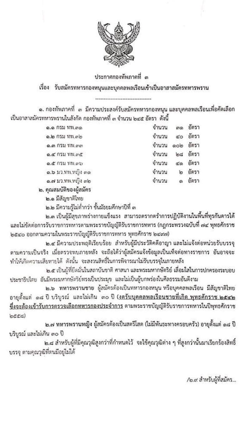 กองทัพภาคที่ 3 รับสมัครทหารกองหนุนและบุคคลพลเรือนเข้าเป็นอาสาสมัครทหารพราน 245 อัตรา (วุฒิ ไม่ต่ำกว่า ม.ต้น) รับสมัครสอบตั้งแต่วันที่ 13-21 พ.ย. 2562