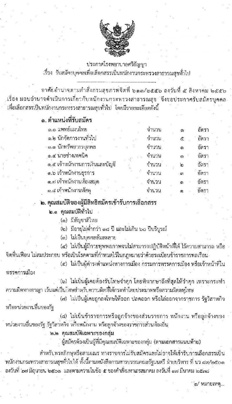 โรงพยาบาลศรีธัญญา รับสมัครบุคคลเพื่อเลือกสรรเป็นพนักงานสาธารณสุขทั่วไป จำนวน 7 ตำแหน่ง 15 อัตรา (วุฒิ ปวส. ป.ตรี) รับสมัครสอบตั้งแต่วันที่ 12-30 ต.ค. 2563